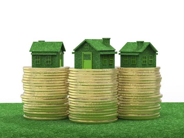 Investimento immobiliare con serra e pila di monete d'oro