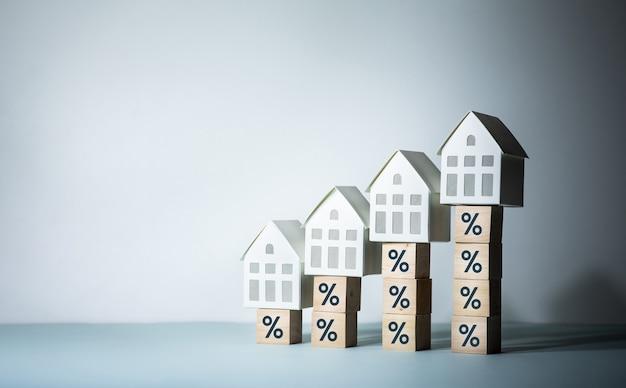 Concetti di rischio immobiliare o immobiliare con segno di percentuale e modello di casa sul gradino di legno. investimenti aziendali e finanziari.