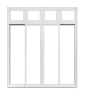 Telaio della finestra della casa moderna reale isolato su priorità bassa bianca con il percorso di residuo della potatura meccanica