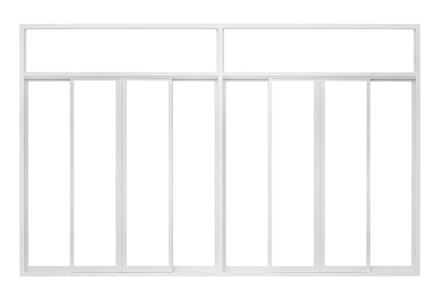 Telaio della finestra casa moderna reale isolato su priorità bassa bianca