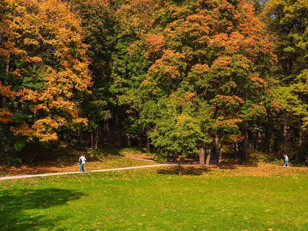 Persone vere camminano l'una verso l'altra sul sentiero nel parco d'autunno.