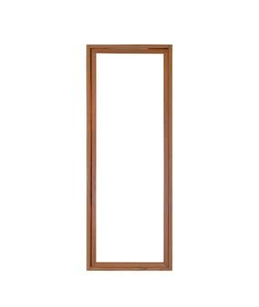 Telaio di finestra porta di vetro in vero legno vintage isolato su sfondo bianco