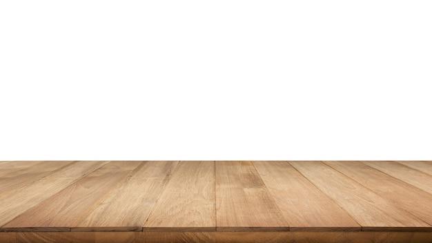 Struttura del piano del tavolo in vero legno su sfondo bianco.per creare la visualizzazione del prodotto o progettare un layout visivo chiave