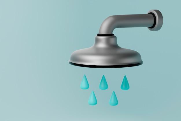 Soffione doccia dettagliato 3d realistico con le gocce di acqua sul primo piano blu del fondo