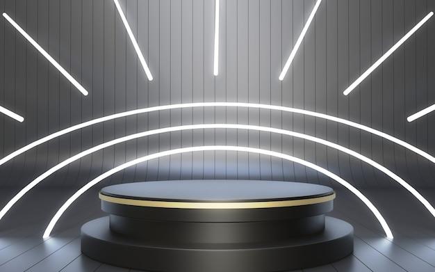 Podio nero di rendering 3d realistico per l'esposizione del prodotto stile futuristico al neon luminoso