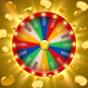 Ruota della fortuna di filatura 3d realistica con monete d'oro volanti. roulette fortunata.