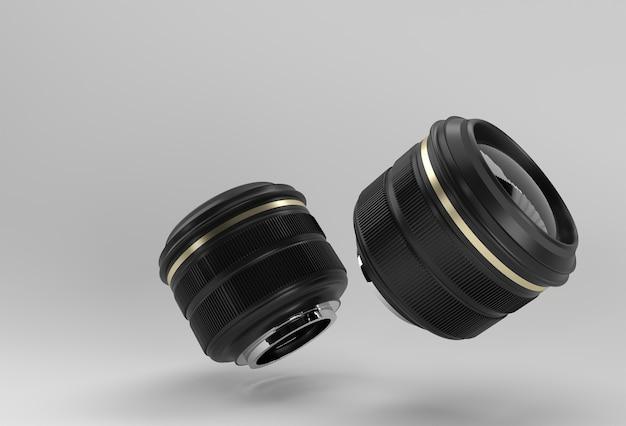 Obiettivo della fotocamera realistico con riflessi 3d rendering.