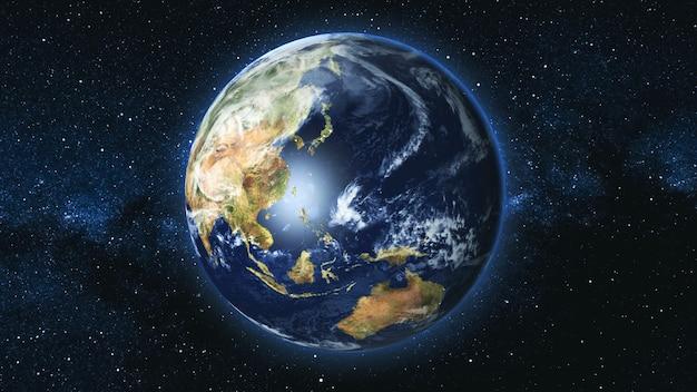 Pianeta terra realistico, rotante sul proprio asse nello spazio sullo sfondo del cielo stellato della via lattea. astronomia e concetto di scienza. continenti e oceani. elementi dell'immagine fornita dalla nasa