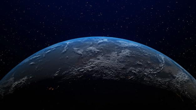 Realistico pianeta terra con alba all'orizzonte mediante rendering grafico 3d