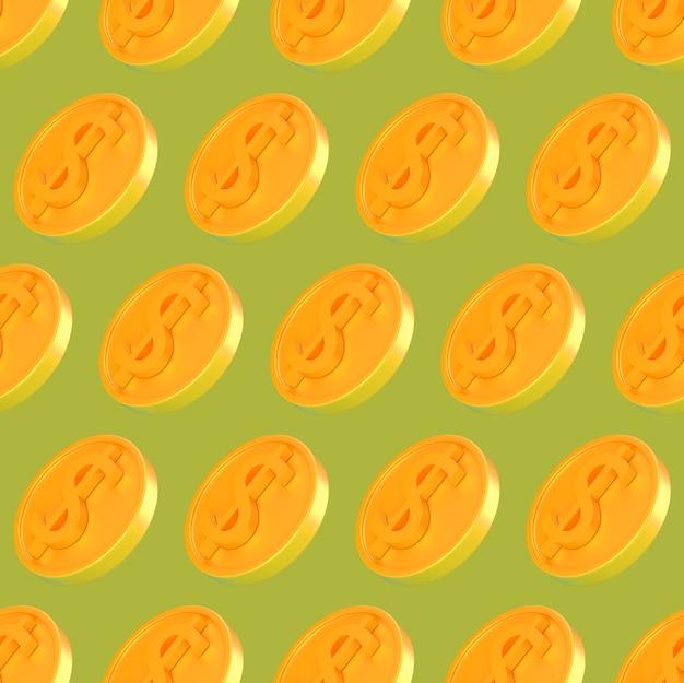 Monete d'oro 3d realistiche con reticolo senza giunte del segno di dollaro