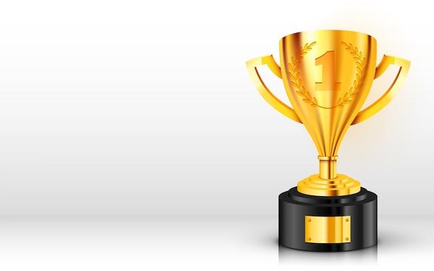 Sfondo realistico trofeo d'oro con posto di testo.