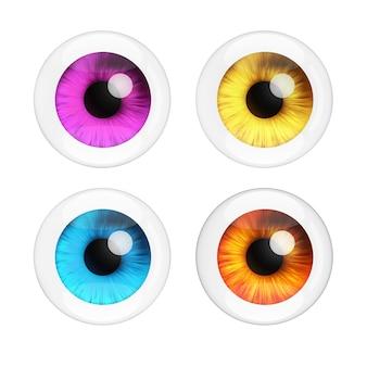 Set di occhi umani realistici con riflessi su sfondo bianco. rendering 3d