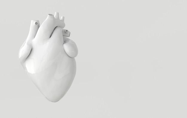 Organo del cuore umano realistico con arterie e rendering 3d dell'aorta