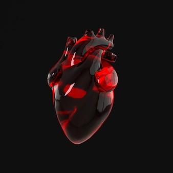 Organo del cuore umano realistico con arterie e rendering dell'aorta