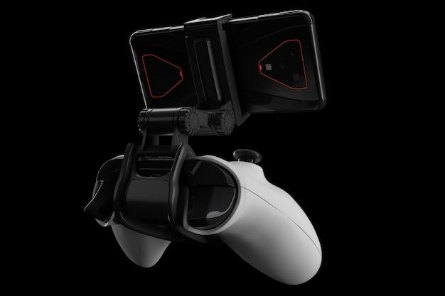 Joystick realistico per giocare su un telefono cellulare isolato su nero
