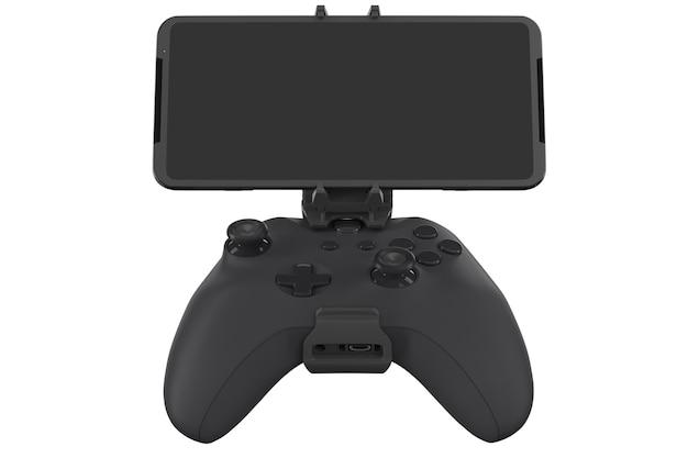 Joystick realistico per giocare su un telefono cellulare isolato su bianco