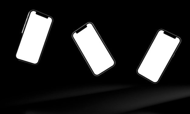 Realistico telefono cellulare smartphone isolato su sfondo nero. 3d'illustrazione