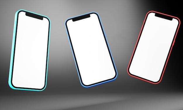 Realistico smartphone telefono cellulare isolato su sfondo grigio. 3d'illustrazione
