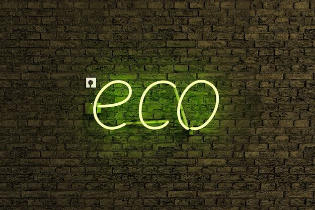 Segno realistico della lampada al neon con la parola eco e luce verde sul muro di mattoni