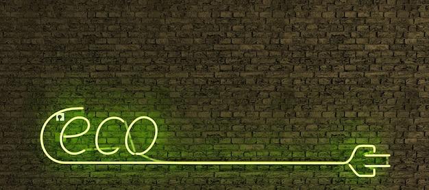 Segno realistico della lampada al neon con la parola eco e la spina lunga con lo spazio della copia e la luce verde sul muro di mattoni