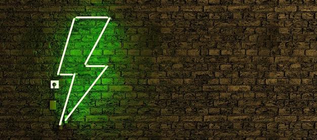 Lampada al neon realistica con il simbolo del fulmine verde e lo spazio della copia