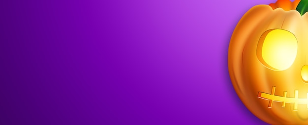 Zucca realistica su uno sfondo viola.