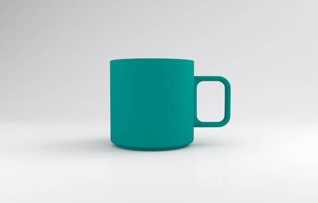 Tazza di colore verde acqua realistico mockup 3d rendering