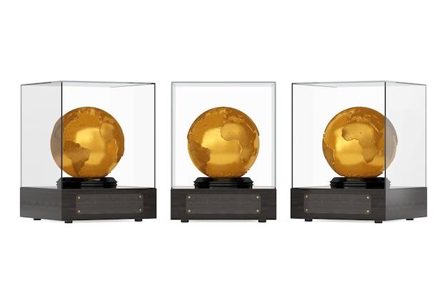 Topografia realistica globo terrestre in metallo dorato in cubo di vetro con piastra per il tuo testo su sfondo bianco. rendering 3d