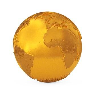Topografia realistica globo terrestre in metallo dorato su sfondo bianco. rendering 3d