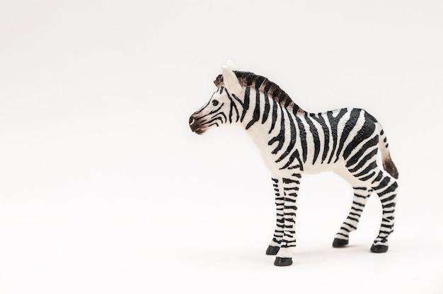 Zebra giocattolo realistico in plastica isolata su una superficie bianca