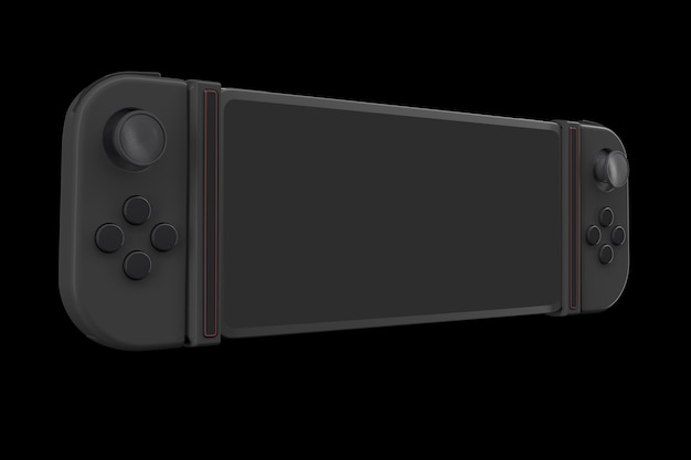 Controller di videogiochi realistici collegati al telefono cellulare isolato sul nero