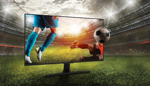 Visione realistica di una partita di calcio attraverso le trasmissioni televisive