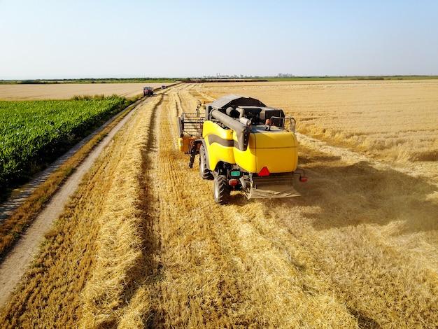 Retrovisione della macchina della mietitrebbiatrice mentre si lavora nel campo di grano con il trattore di fronte in una giornata di sole.