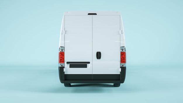 Vista posteriore del vagone merci per il mockup di visualizzazione. rendering
