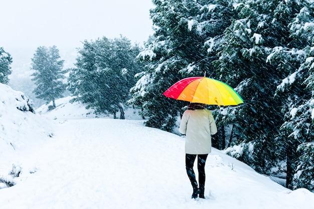 Vista posteriore di una donna con un ombrello colorato che cammina su un paesaggio di montagna.