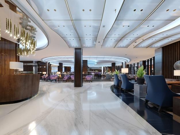 Area reception di un hotel moderno. rendering 3d