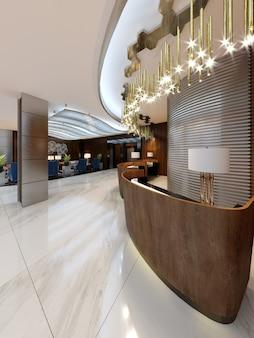 Area reception in un hotel moderno con banconi reception in legno e grandi lampadari dorati pendenti. rendering 3d.