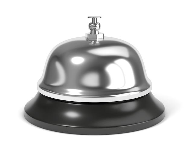 Campanello di ricezione con pulsante isolato su sfondo bianco