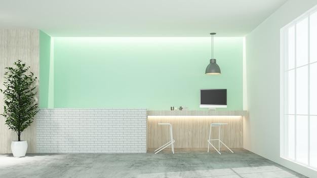 Ricevimento contatore interno 3d rendering in hotel - stile minimal