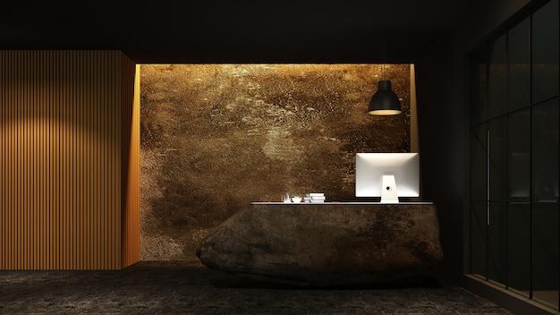 Contro interiore di ricezione 3d che mostra in hotel