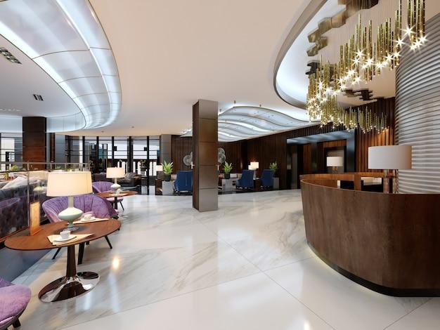 Reception con ingresso nella hall e area lounge. rendering 3d