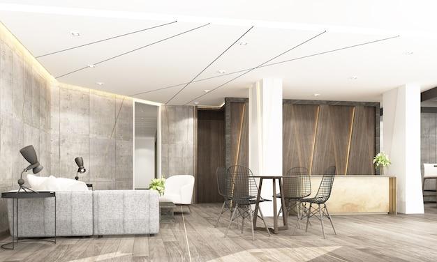Sala principale della reception con area di attesa e spazio di lavoro in stile industriale moderno rendering 3d di interni