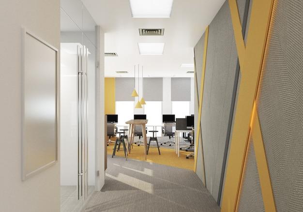 Reception dell'ufficio area di lavoro in un ufficio moderno con pavimento in moquette e sala riunioni di colore giallo e grigio. rendering 3d di interni