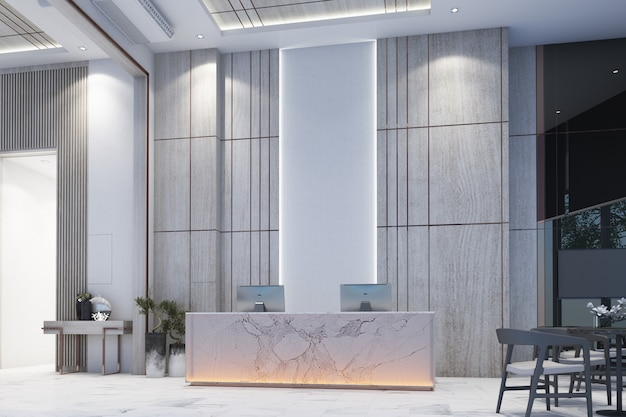 L'ingresso dell'area di attesa con la parete decora la galleria di vendite sul pavimento e sulla tavola di marmo bianchi con la rappresentazione della sedia 3d Foto Premium