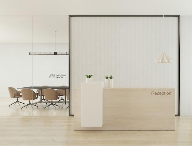 Reception con parete bianca vuota per logo mock up design e sala riunioni in background