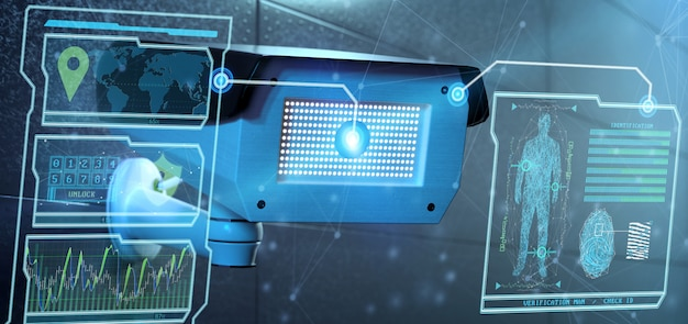 Software di rilevazione di riconoscimento sul sistema della videocamera di sicurezza - rappresentazione 3d