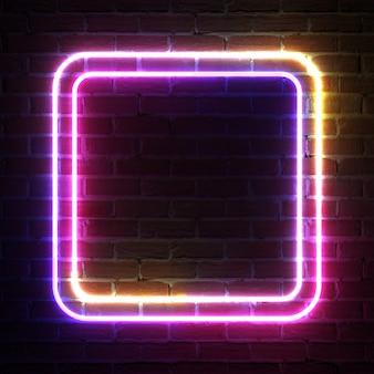 Cornice di luce al neon rettangolare per modello e layout davanti al muro di mattoni. rendering 3d