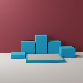 Podio blu rettangolare in borgogna, rendering 3d