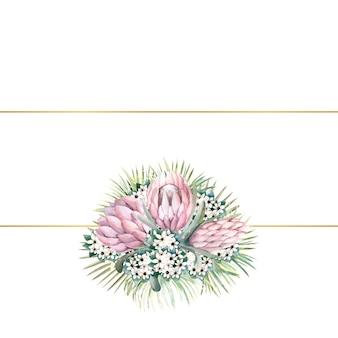 Cornice rettangolare in oro con fiori di protea, foglie tropicali, foglie di palma, fiori di bouvardia
