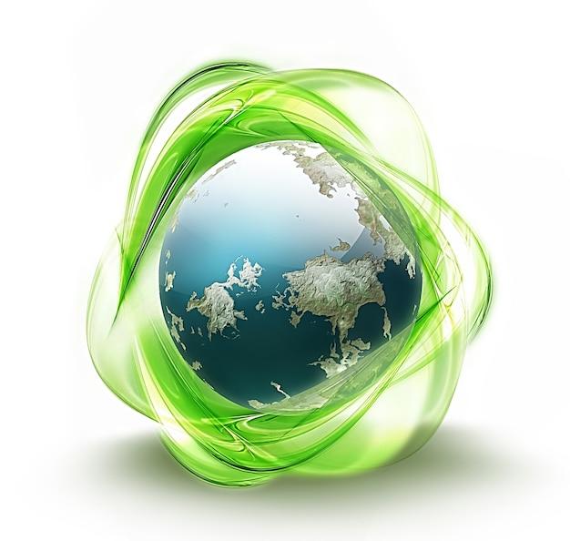 Riciclare il simbolo del concetto di ecologia del simbolo della terra verde